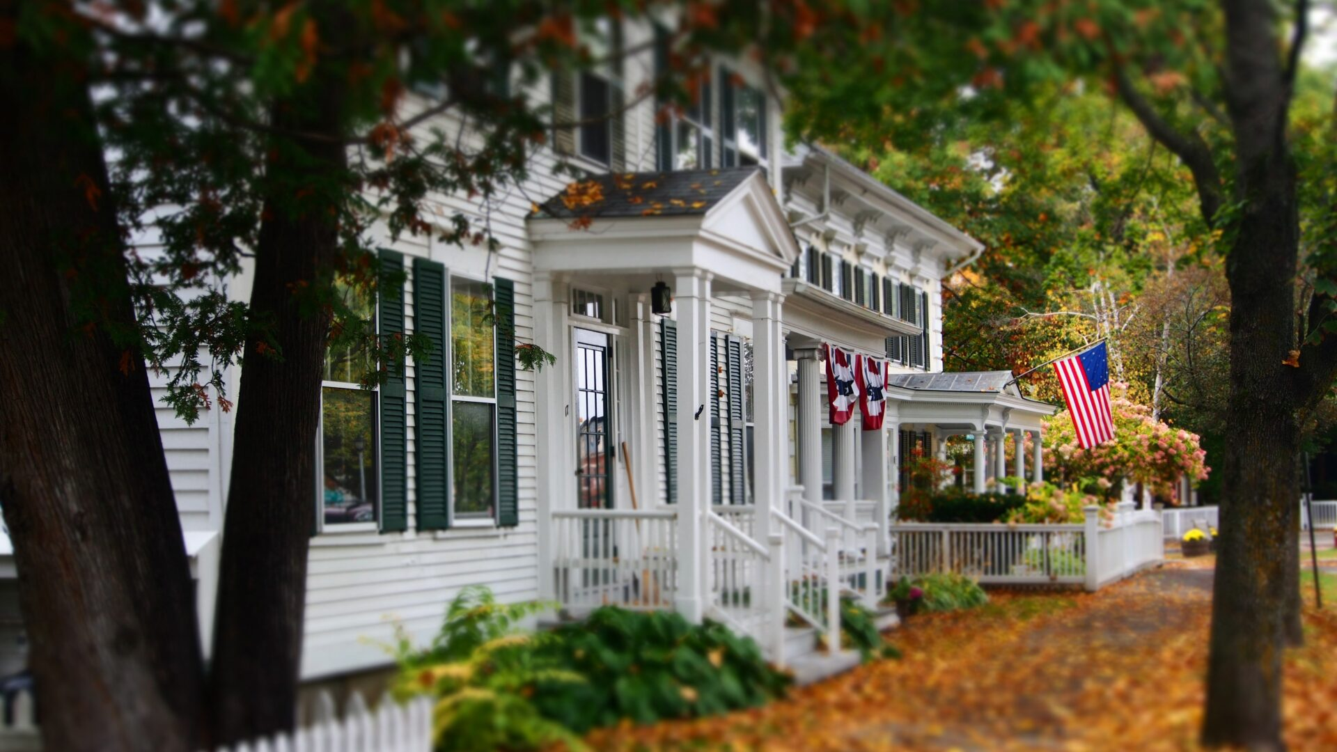 houses in fall for blog about getting an HVAC system serviced